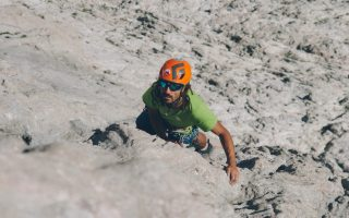 Palan Martín climbing in Picu Urriellu (Spain).