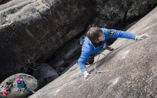 La Sportiva: James Pearson sending the holdless Inuït, 8b+ slab in La Pedriza (Spain).